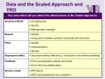 data and the scaled approach and yro