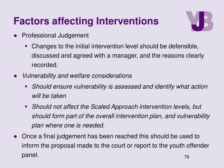 Factors affecting Interventions