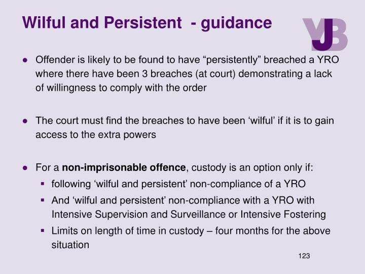 Wilful and Persistent  - guidance