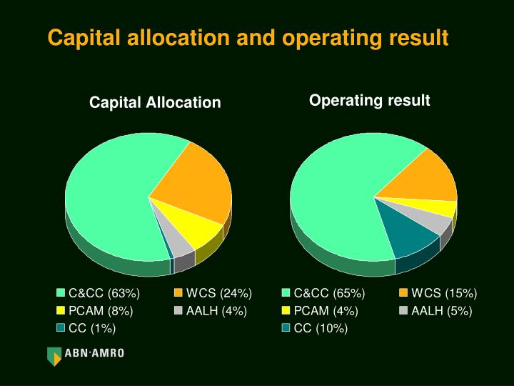 Capital allocation and operating result