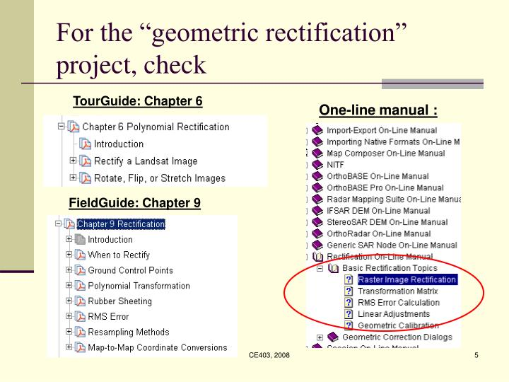 "For the ""geometric rectification"" project, check"