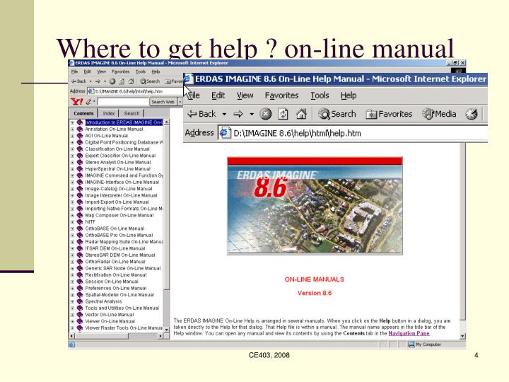 Where to get help ? on-line manual