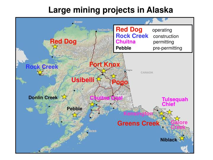 Large mining projects in Alaska