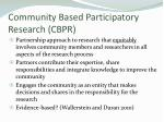 community based participatory research cbpr