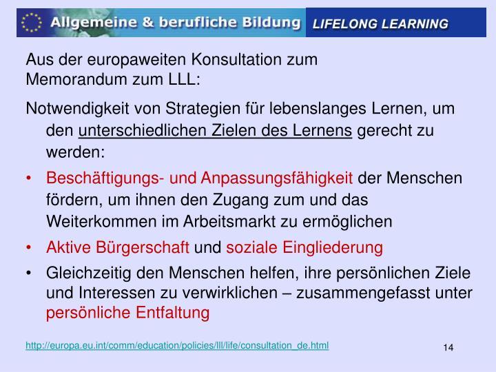 Aus der europaweiten Konsultation zum Memorandum zum LLL:
