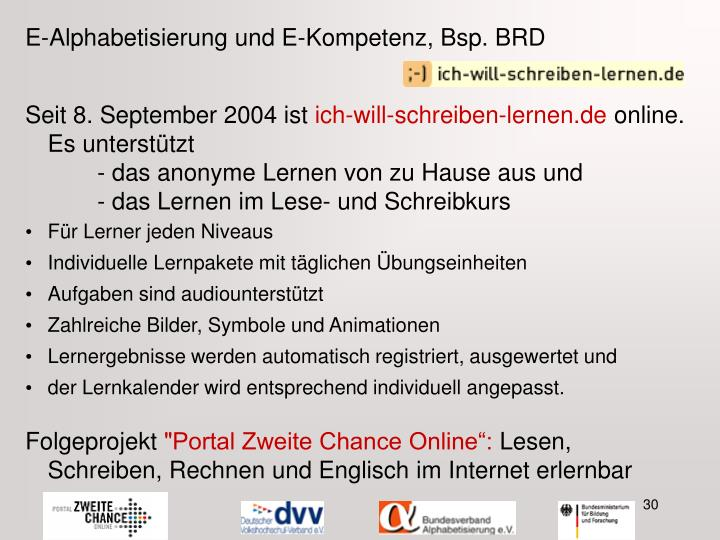 E-Alphabetisierung und E-Kompetenz, Bsp. BRD