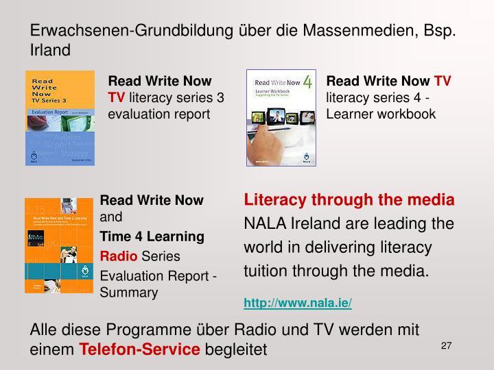 Erwachsenen-Grundbildung über die Massenmedien, Bsp. Irland