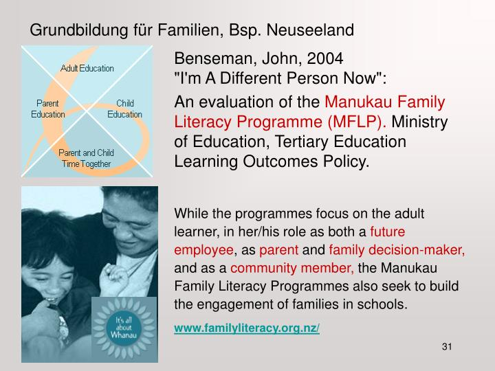 Grundbildung für Familien, Bsp. Neuseeland
