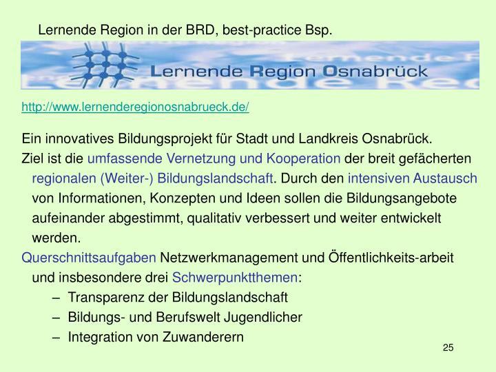 Lernende Region in der BRD, best-practice Bsp.