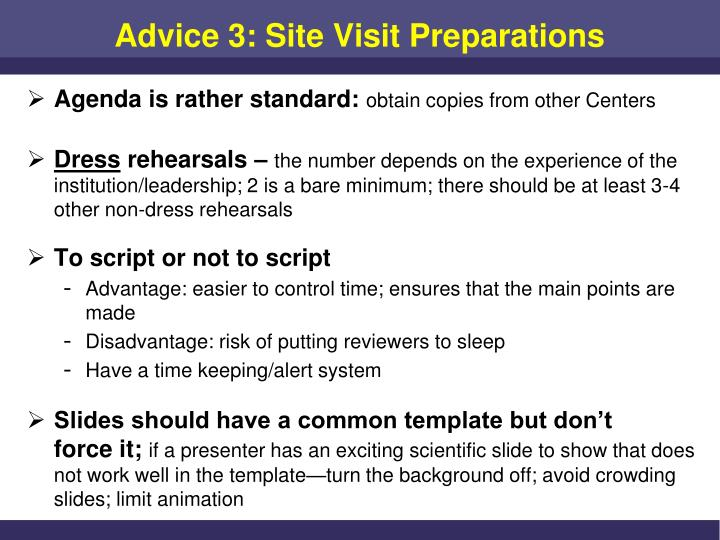 Advice 3: Site Visit Preparations