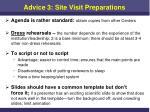 advice 3 site visit preparations