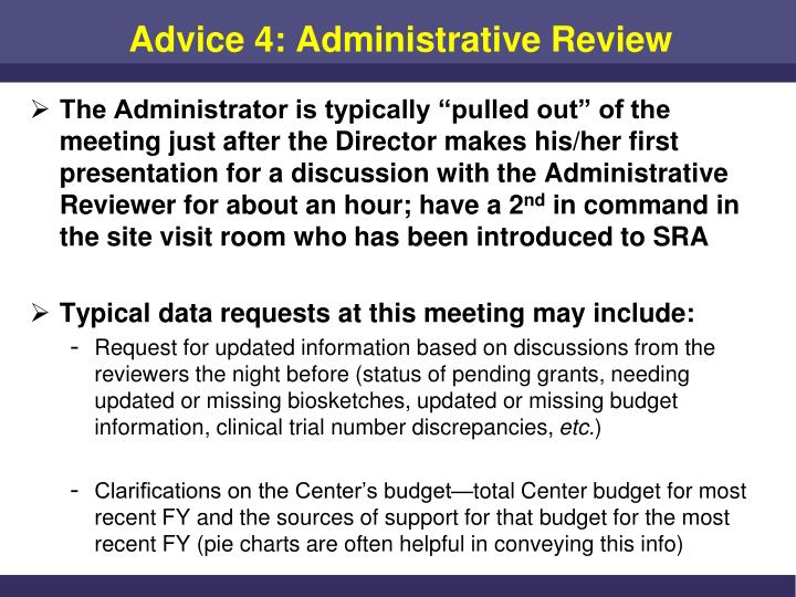 Advice 4: Administrative Review