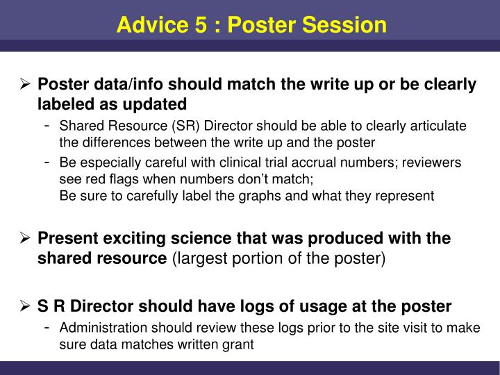 Advice 5 : Poster Session