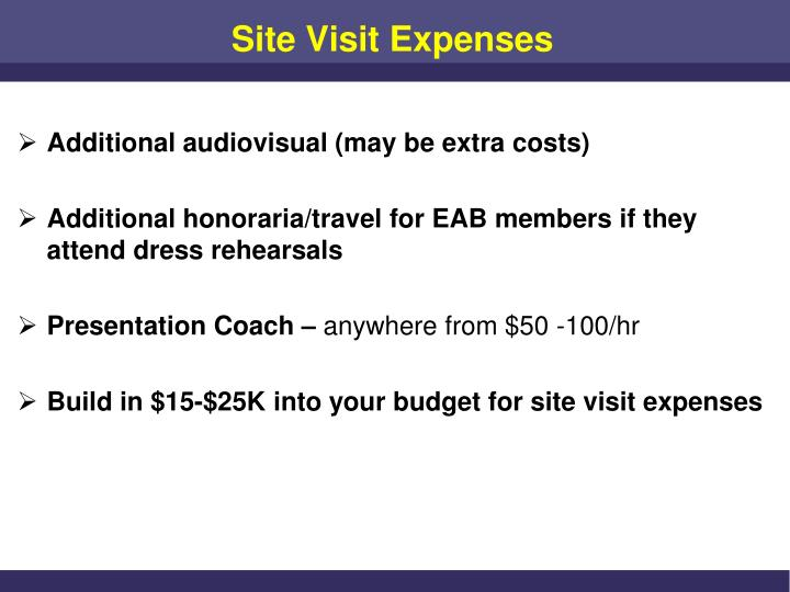 Site Visit Expenses