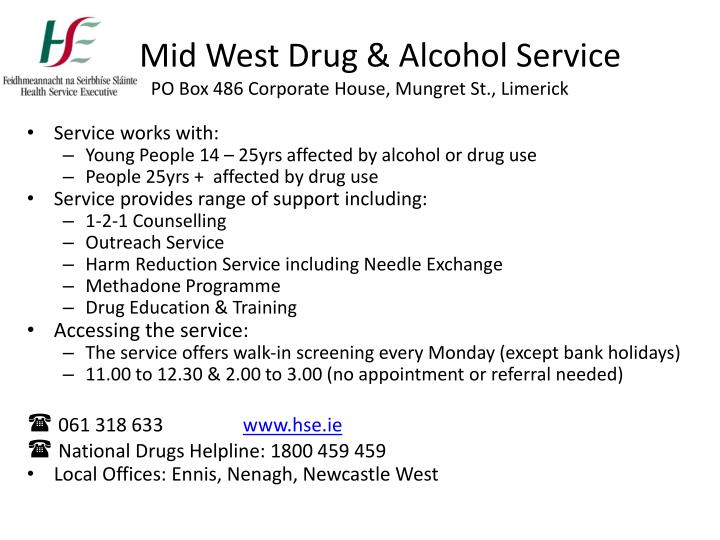 Mid west drug alcohol service po box 486 corporate house mungret st limerick