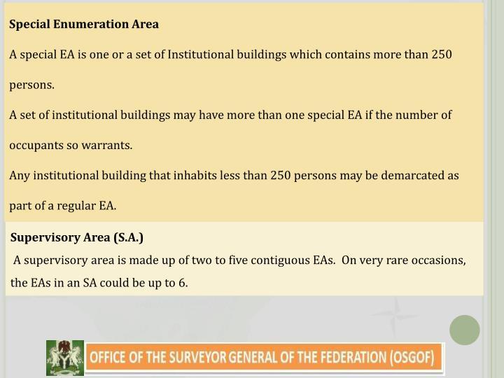 Special Enumeration Area