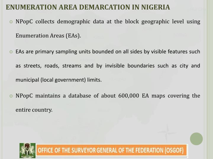 ENUMERATION AREA DEMARCATION IN NIGERIA