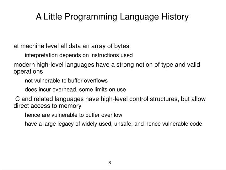 A Little Programming Language History