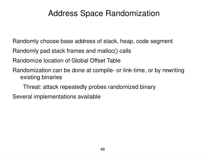 Address Space Randomization