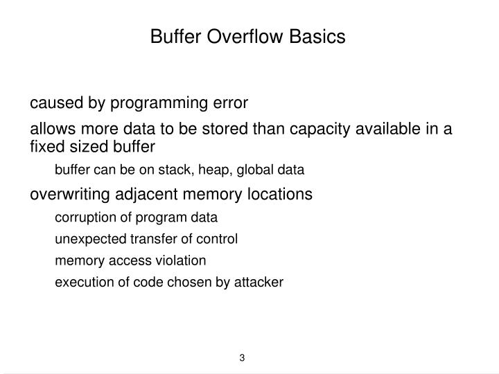Buffer overflow basics