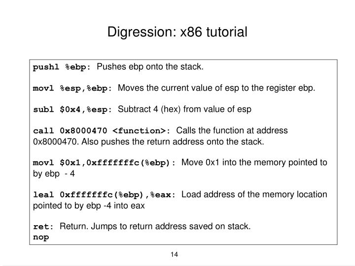 Digression: x86 tutorial