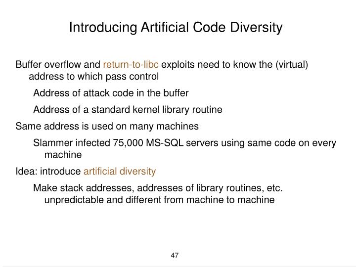 Introducing Artificial Code Diversity