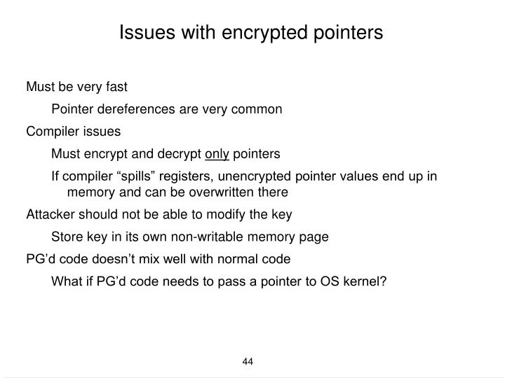 Issues with encrypted pointers