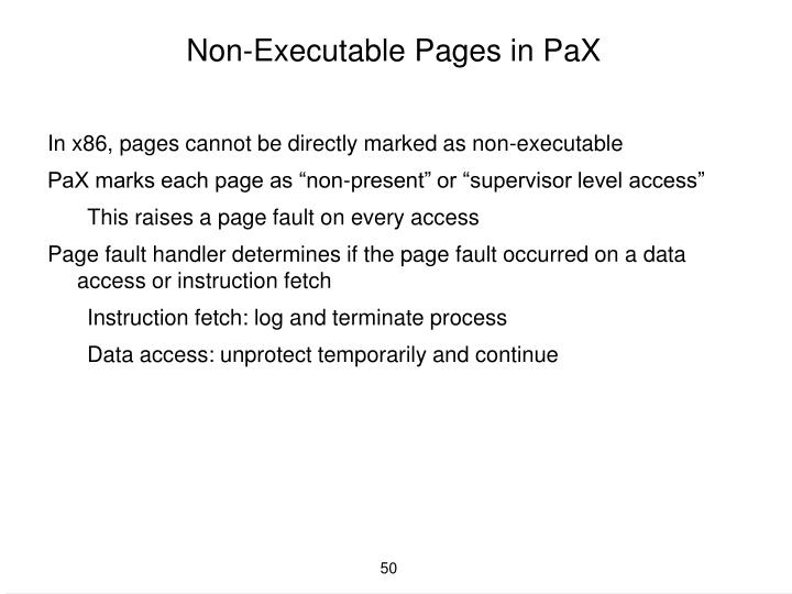 Non-Executable Pages in PaX