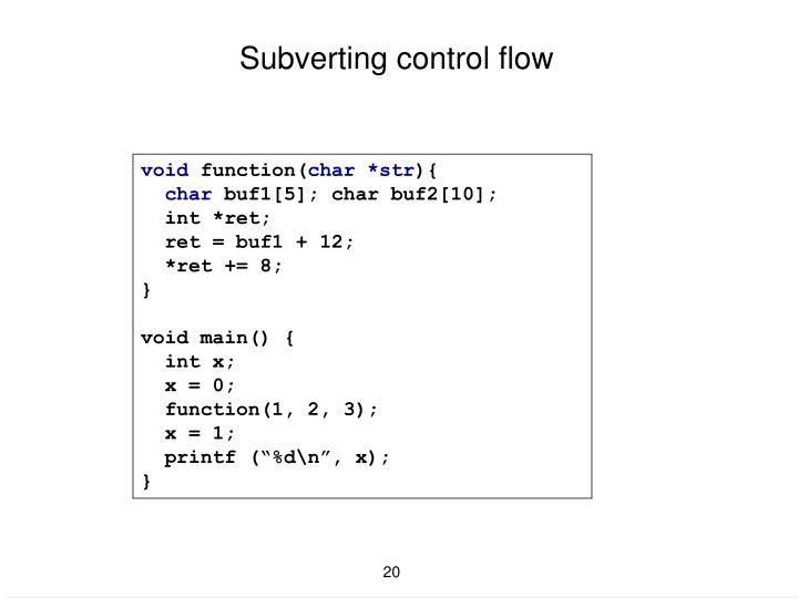 Subverting control flow