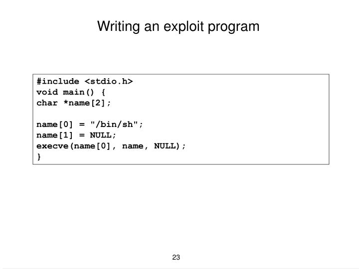 Writing an exploit program