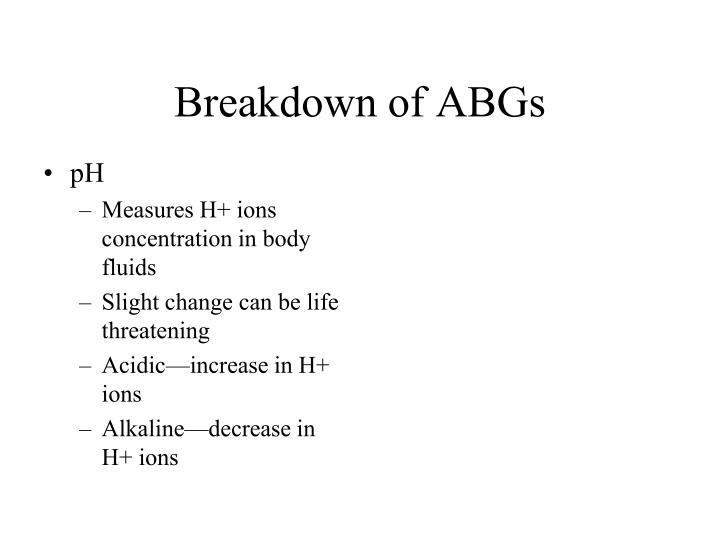 Breakdown of ABGs
