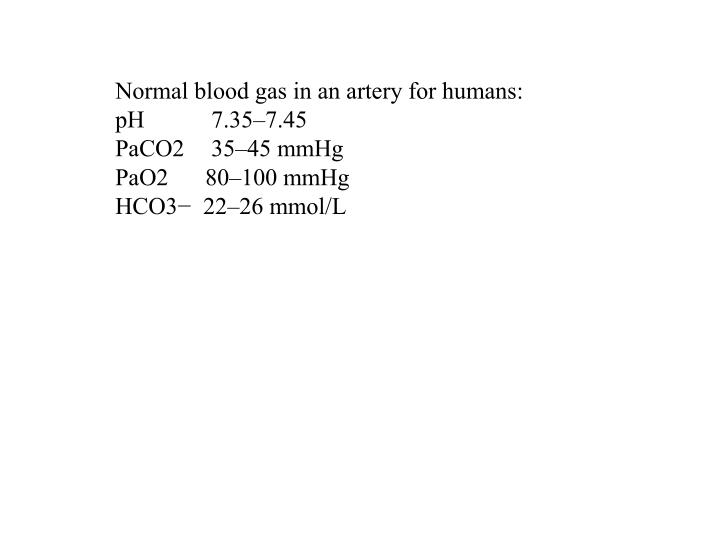 Normal blood gas in an artery for humans:
