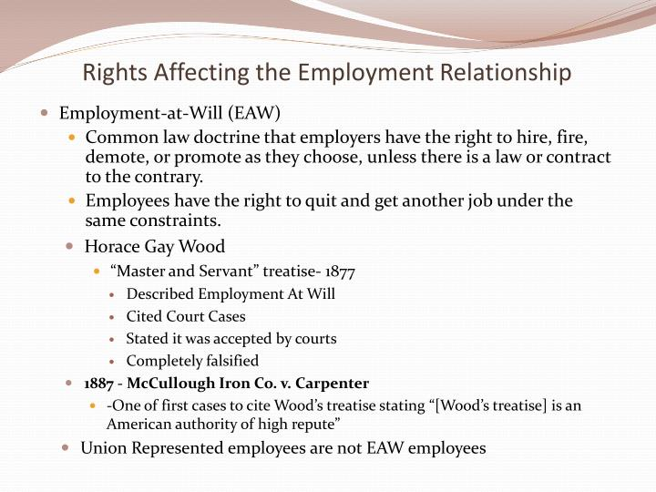 master and servant relationship in an employment at common law