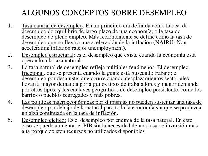 ALGUNOS CONCEPTOS SOBRE DESEMPLEO