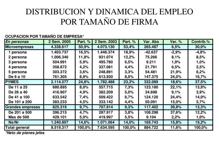 DISTRIBUCION Y DINAMICA DEL EMPLEO POR TAMAÑO DE FIRMA