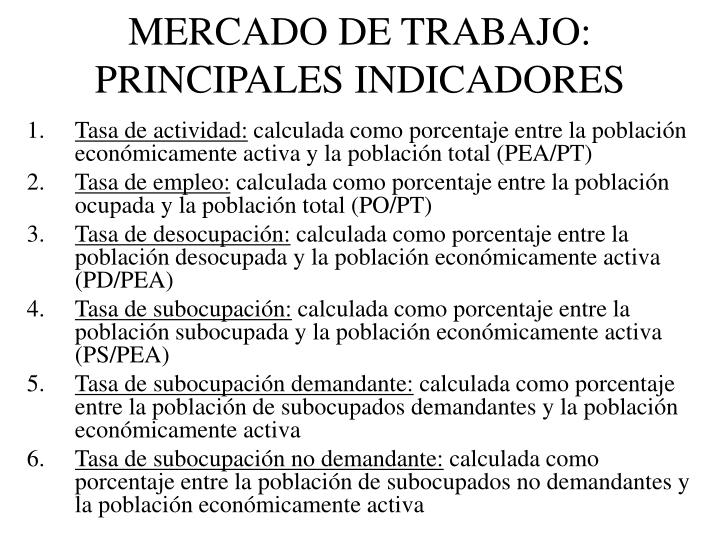 MERCADO DE TRABAJO: