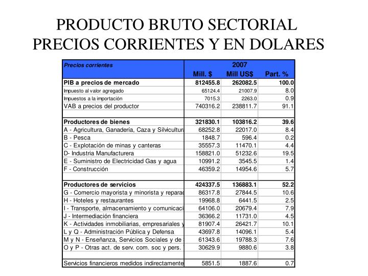 PRODUCTO BRUTO SECTORIAL
