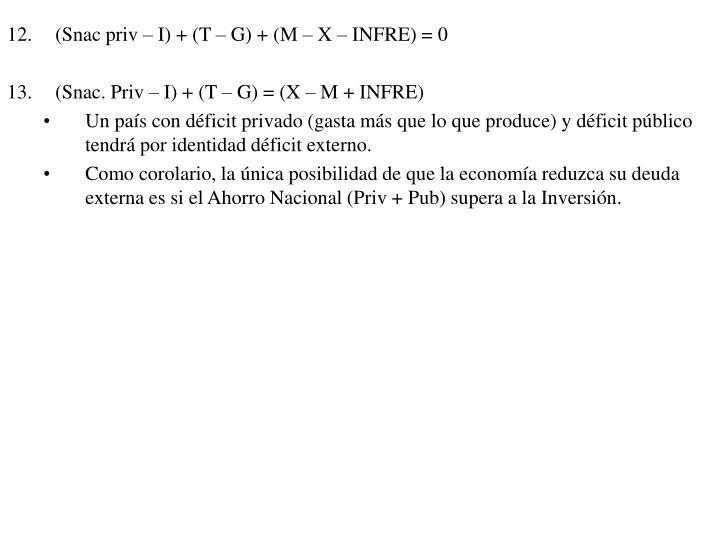 (Snac priv – I) + (T – G) + (M – X – INFRE) = 0