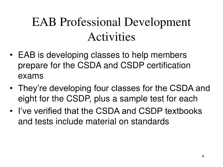 EAB Professional Development Activities