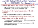 low ebe during h mode will be investigate during 2007 nstx run campaign