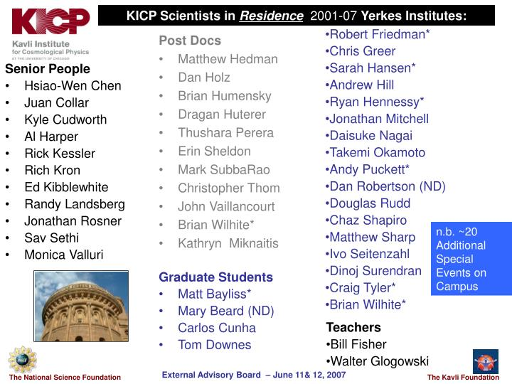 KICP Scientists in