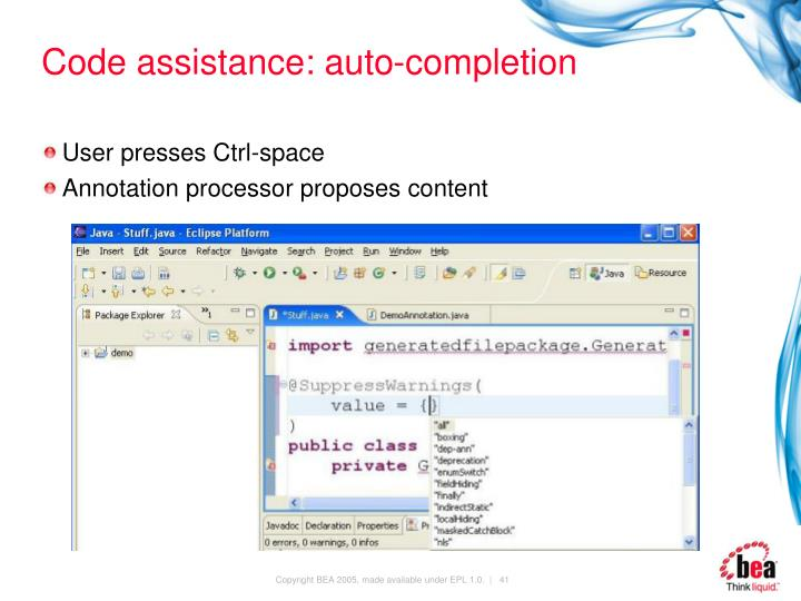 Code assistance: auto-completion