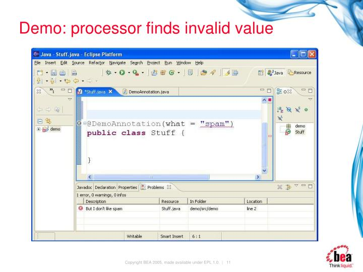 Demo: processor finds invalid value