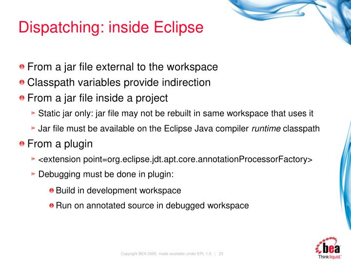 Dispatching: inside Eclipse