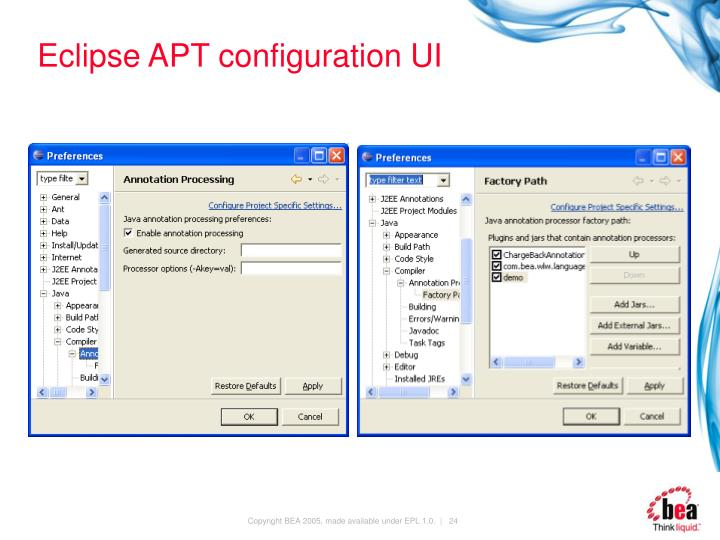 Eclipse APT configuration UI