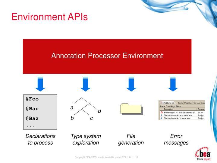Environment APIs