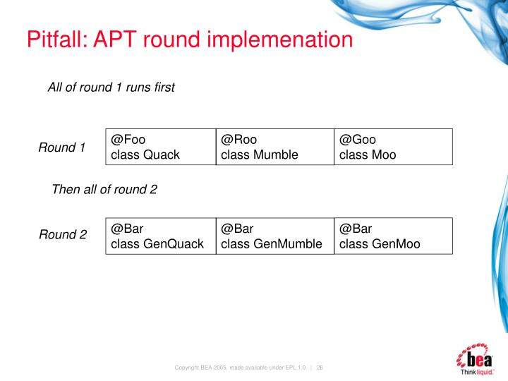 Pitfall: APT round implemenation