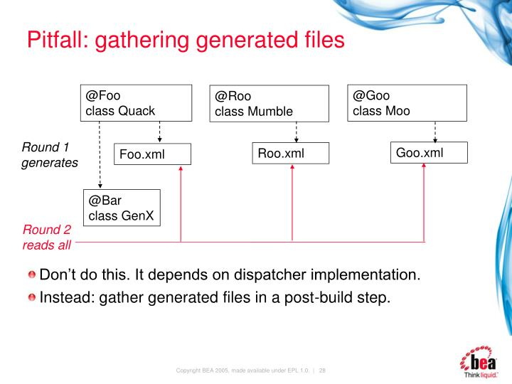 Pitfall: gathering generated files