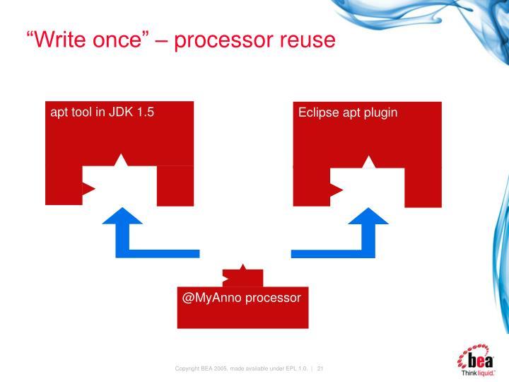 """Write once"" – processor reuse"