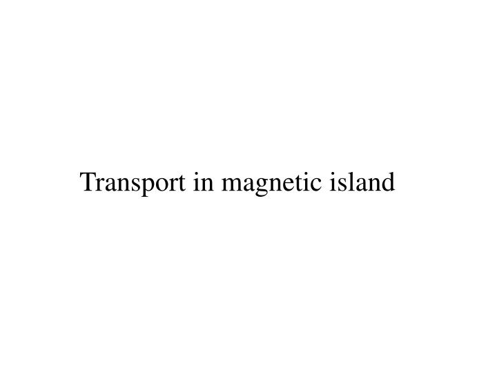 Transport in magnetic island